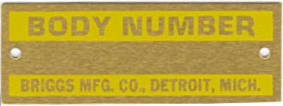 Plaqueta Numero da Carroceira - Briggs - Ford Modelo a 28-31