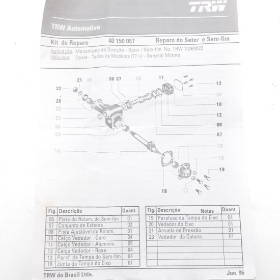 Kit Reparo Mecanismo Direção S/ Fim Opala Caravan Trw 10360022