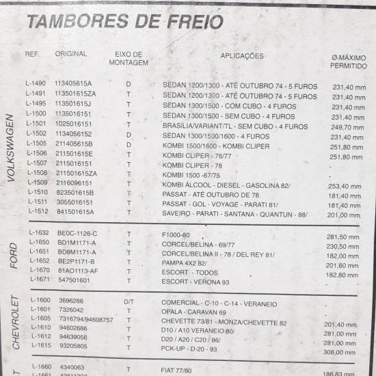 Tambor Freio Passat Até Outubro 78