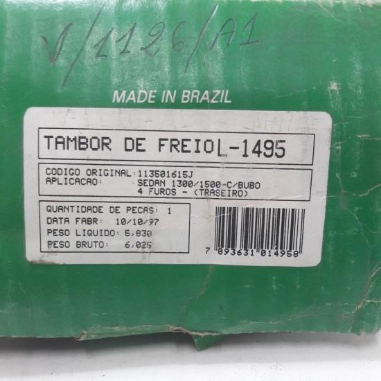 Tambor Freio Trazeiro Fusca 1300 1500 com Bubo 4 Furos Lanfredi L1495